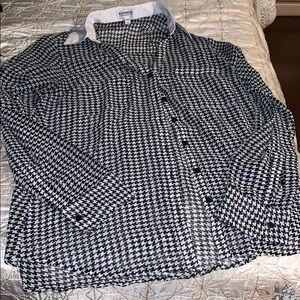 Long slv  sheer top -houndstooth pattern